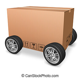 blank cardboard box on wheels isolated package concept for...