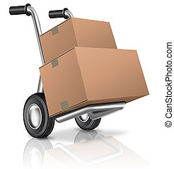 hand truck with blank cardboard box isolated