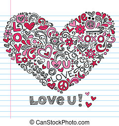 Valentine's Day Love Heart Doodle - Heart Love Vector- Back...