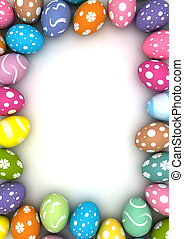 Easter Frame - Frame with easter eggs (computer generated...