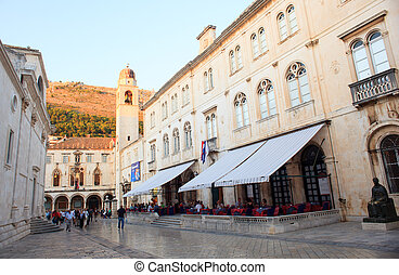 Stradun, Dubrovnik - View of the famous Stradun, big street...