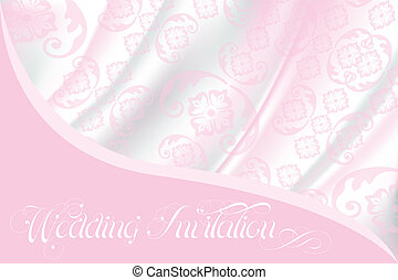 Wedding invitation on light pink lace and silk - Wedding...