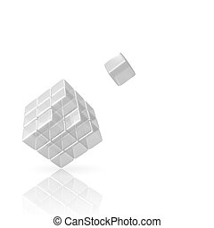 3D Glass Cube with missing piece on white Background