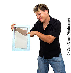 man holding an old window on a white background