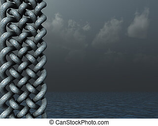 celtic knots design in dark water landscape - 3d...