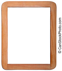 Whiteboard in Wooden Frame on White Background