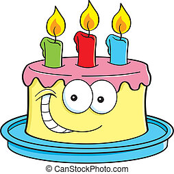 Cake with candles - Cartoon illustration of a cake with...