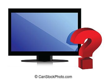 flat monitor. tv and question mark illustration design