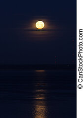 night full moon and lunar path on water