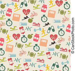 fitness icons - cute fitness icons over beige background....
