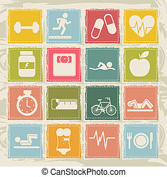fitness icons - cute fitness icons over beige background...