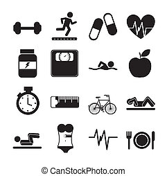 fitness icons - black fitness icons over white background....