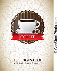cup cake label - coffee label over ornament background....