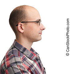 Profile view of man with eyeglasses