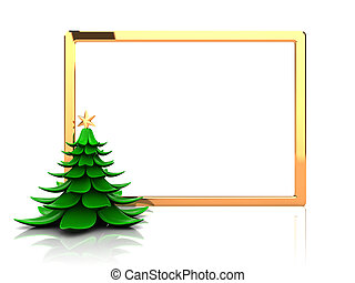 Christmas frame - New year frame with christmas tree, 3d...