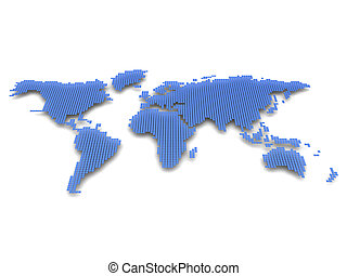 Model of planet - Digital model of planet: blue and white...