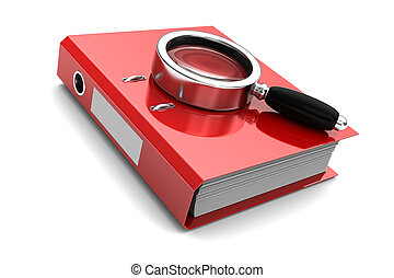 Search - Red folder with magnifier above on it isolated on...