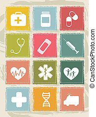 medical icons - vintage medical icons over grunge background...