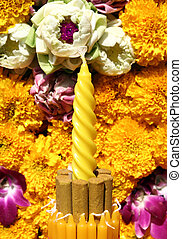 Incense and flowers, orchids, marigold in Loy Krathong festival, Thailand