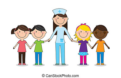 children - happy group children with doctor, team vector...