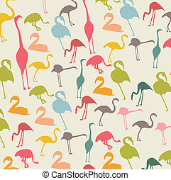 flamingo - vintage flamingo over beige background, animal...