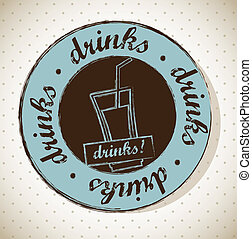 drinks - blue drink illustration, vintage stamp vector...