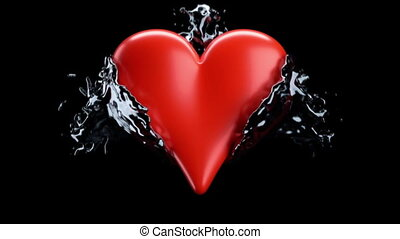 Red heart shape and liquid splashes with slow motion. Alpha...