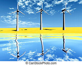 wind turbine on the beach and reflect