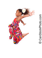 Portrait of Young African Asian girl jumping - Portrait of...