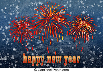 Firework and happy new year greetin - Background with...