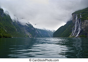 Seven sisters waterfall Norway fjords