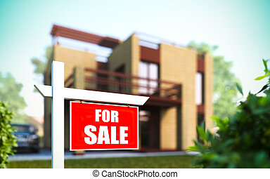 """Home For Sale"" sign in front of new house. - A 3D..."