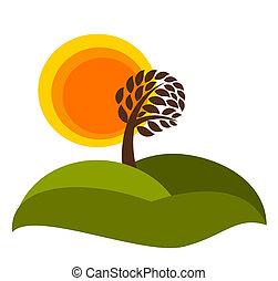 Autumnal landscape - Autumn landscape with tree. Vector...