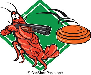 crayfish_skeet_shotgun - Illustration of a crayfish lobster...
