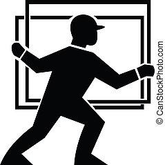 Worker Handling Delivering Glass Plate - Illustration of a...