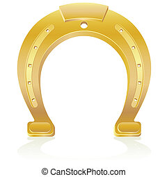 gold horseshoe talisman charm vector illustration isolated...