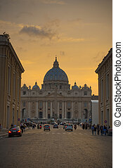 Saint Peter Basilica in Vatican at evening