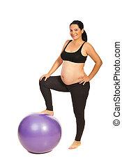Joyful pregnant woman with ball - Joyful pregnant woman...