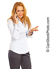 Business woman talking by cellphone isolated on white...