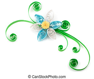 flower - Quilling. Made of strips of paper flower on a white...