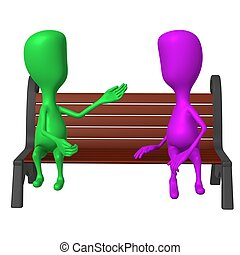 View puppet on bench keeping inclusive conversation - Front...