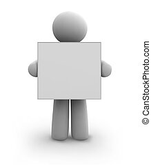 Vector white human with blank board. eps8