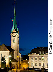 Fraumunster Church in Zurich - Night view on Fraumunster...