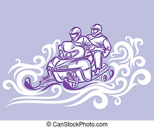 Snowmobile - two people on snowmobile.