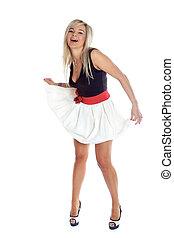 girl in white skirt isolated on white