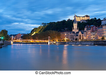 Lyon and Saone river at night - Lyon and the Saone river at...
