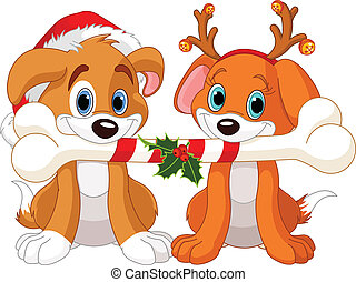 Two Christmas dogs holding decorated bone