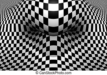 Folded Space - Optical illusion in 256 greyscale.