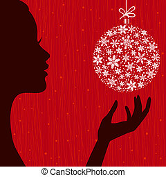 Christmas Eve background. Profile Silhouette of Pretty Young Woman with Snowflake Ball in her Hand. Image May Be Use as Postcard or Placard
