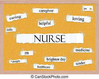 Nurse Corkboard Word Concept with great terms such as...